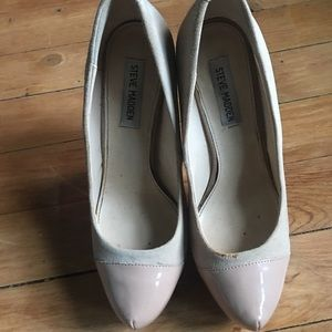 Shoes - Steve Madden Nude Suede & Pleather Platform Pumps